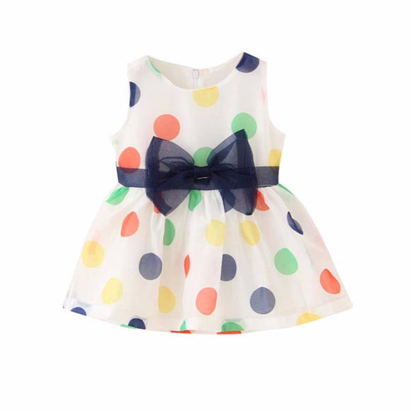 Baby Girls Polka Dot Dress with Bow - sizes 3m-24m