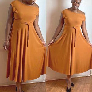 Camel Norma Kamali dress.  Off the shoulder aline waist