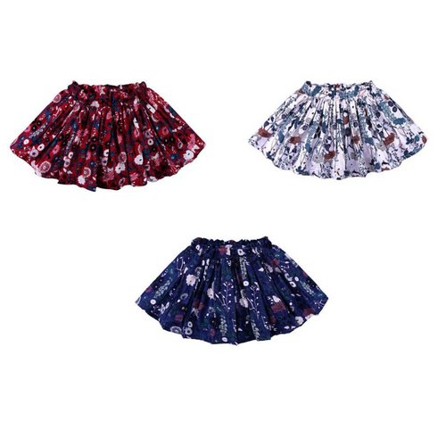 3 ruffle skirts with floral print and elastic waist band.  Left to right: Red skirt, White skirt and Blue skirt