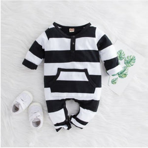 Black & White Striped Romper