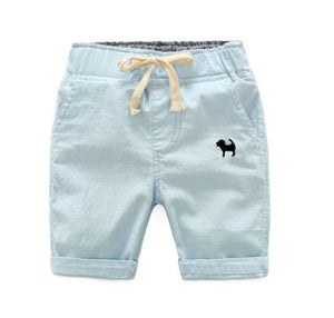 light blue shorts with embroidered navy blue dog on left front pocket.