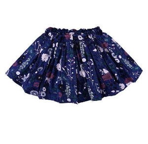 Blue ruffle skirts with floral print and elastic waist band.