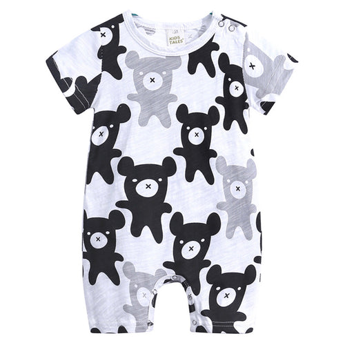 Short sleeve bear print romper with snaps on the shoulder snaps and snaps on the inside of the leg.
