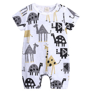 Short sleeve safari print romper with snaps on the shoulder snaps and snaps on the inside of the leg.