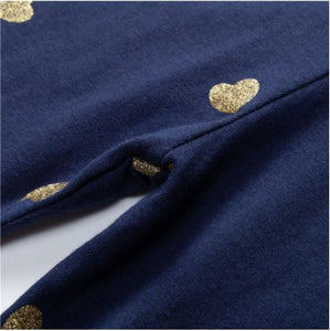 Navy Toddler Leggings with Gold Hearts