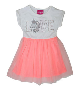 "Dress with white bodice with ""love"" bedazzled on it and unicorn acting as the ""o"" in Love.  Orange/pink tulle as the skirt."