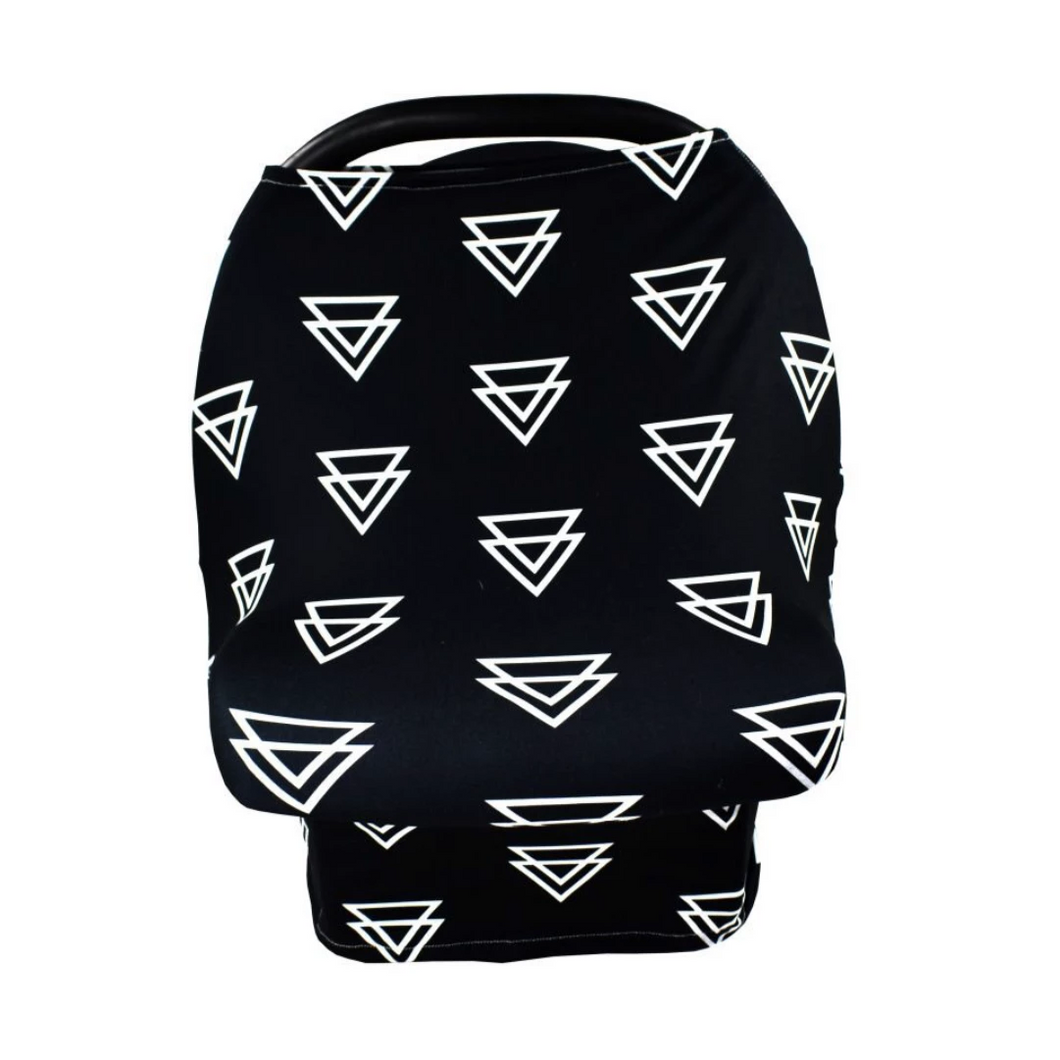 black car seat cover with white triangles.