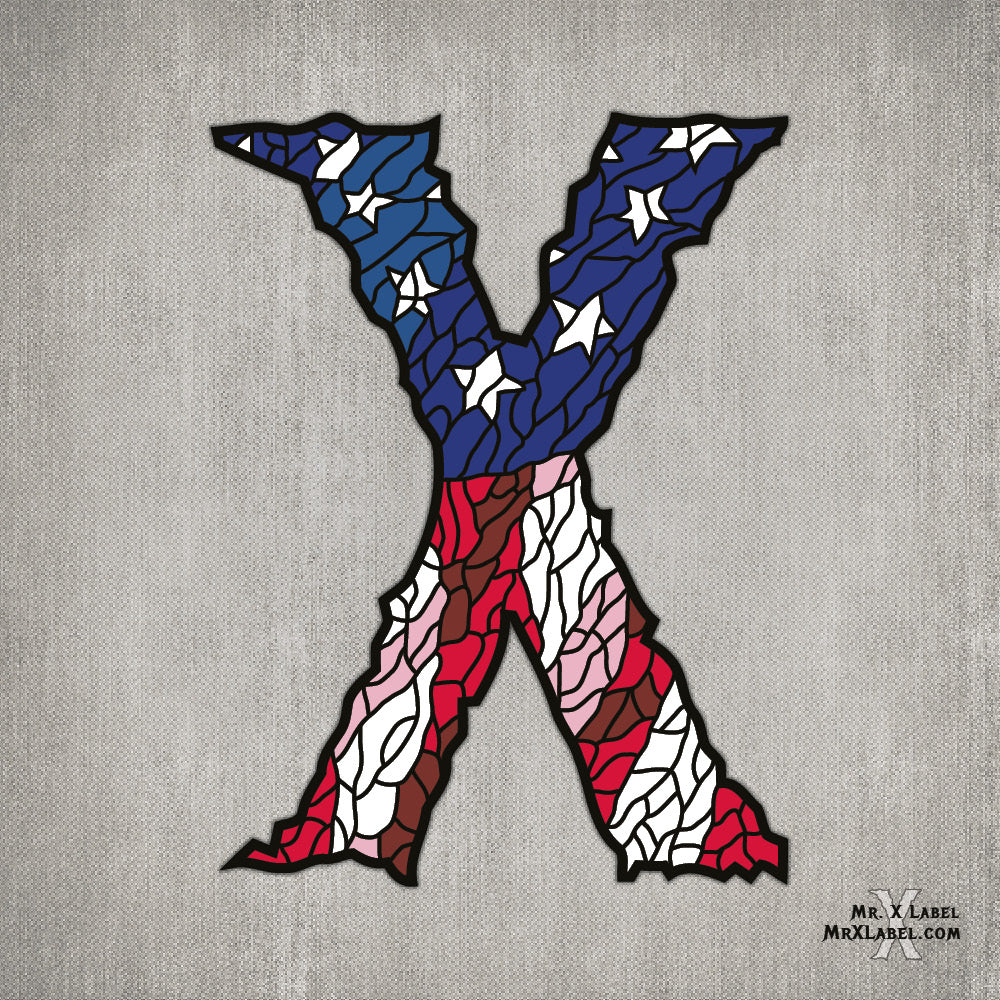 American Flag X Embroidered Patch