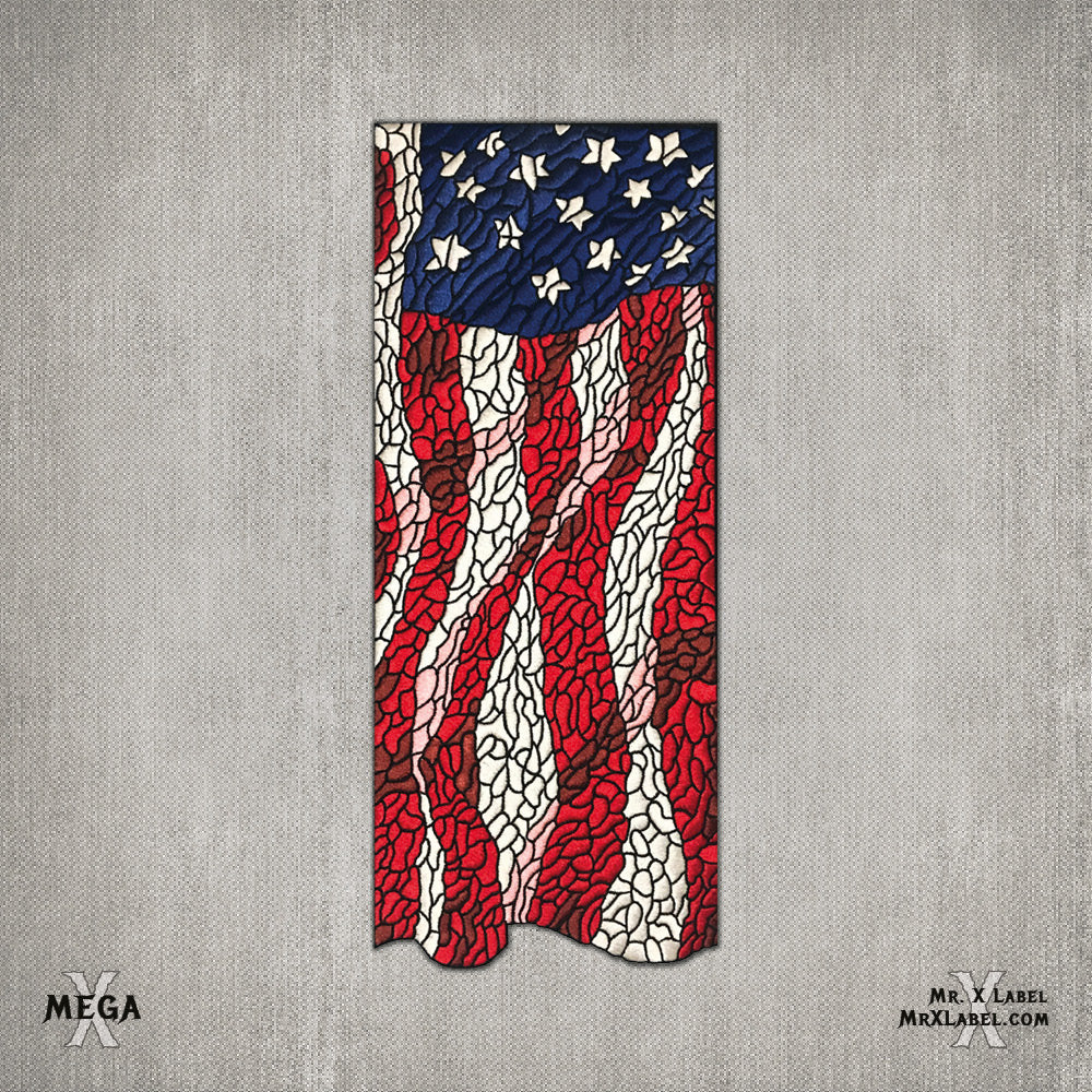 American Flag v.Mega Embroidered Patch - Size Compare
