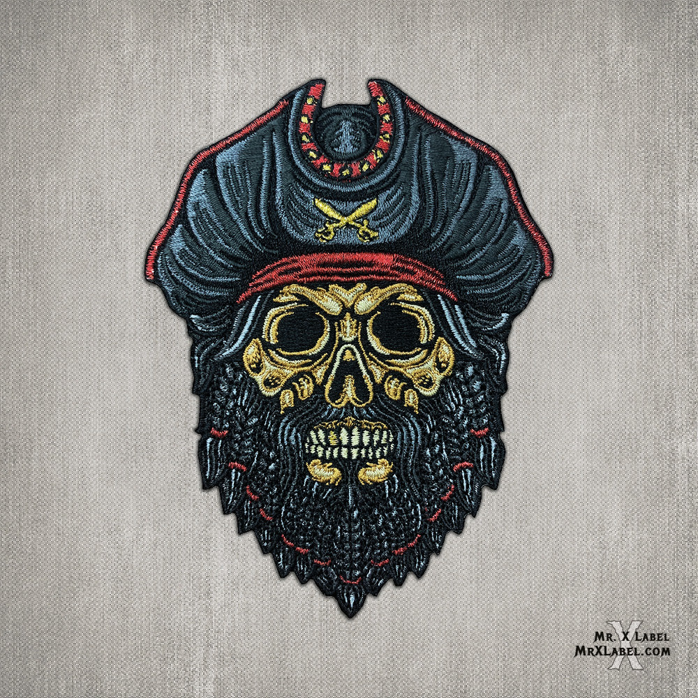 Blackbeard Pirate Skull Embroidered Patch