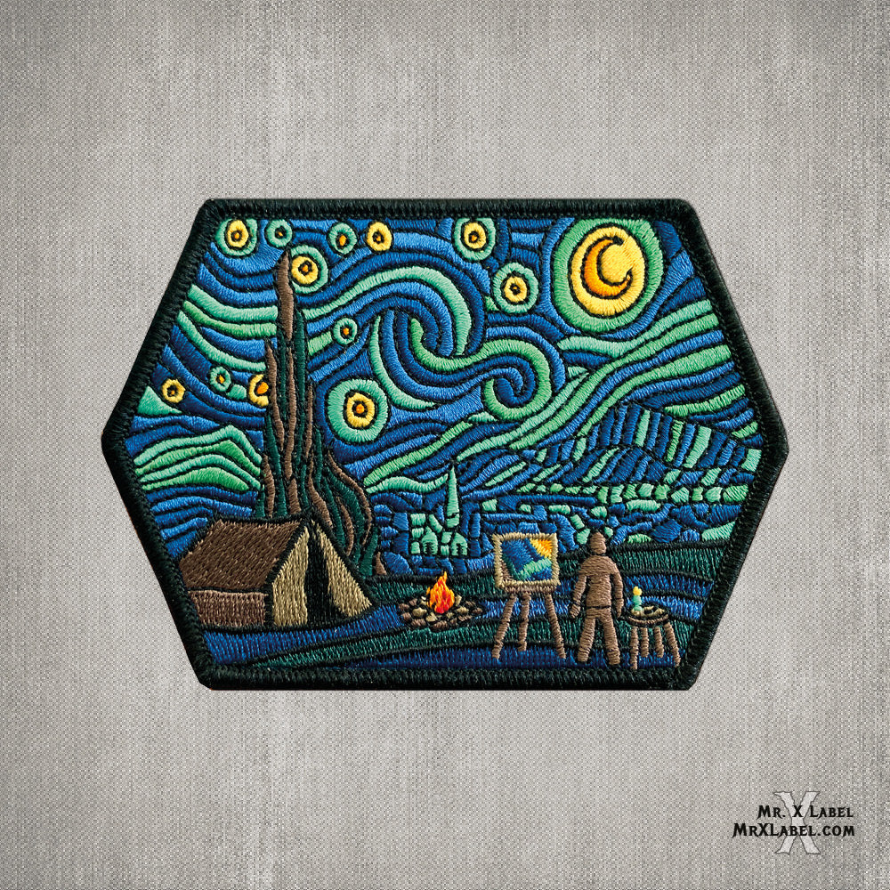 Camp Fire Starry Night Embroidered Patch