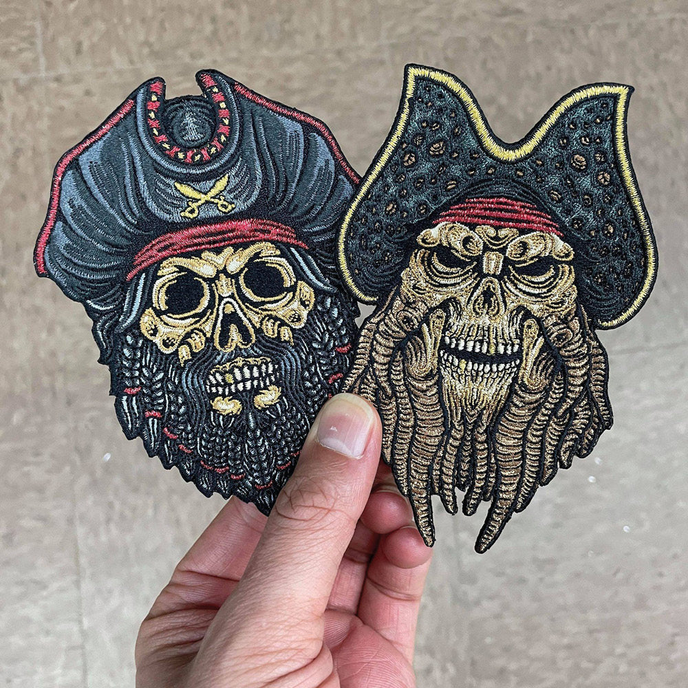 Davy Jones Pirate Skull Embroidered Patch