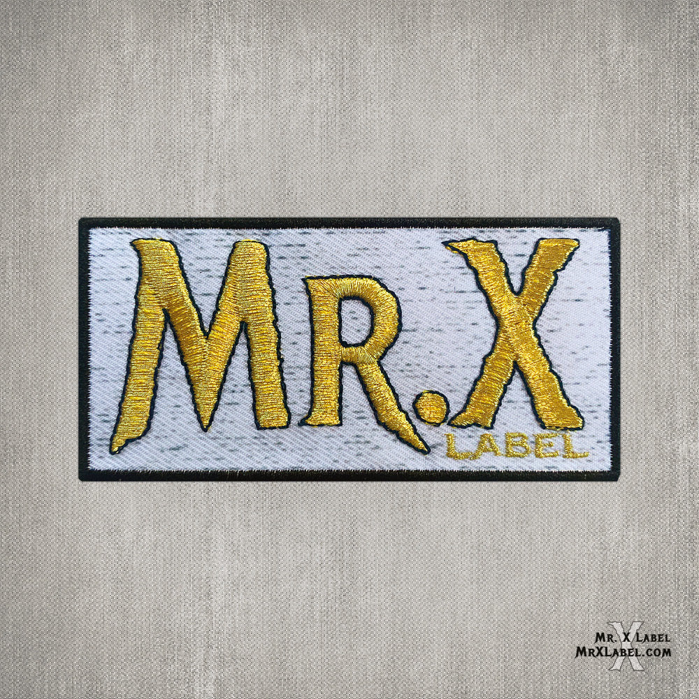 Mr. X Label v3 (Gold on White) Embroidered Patch