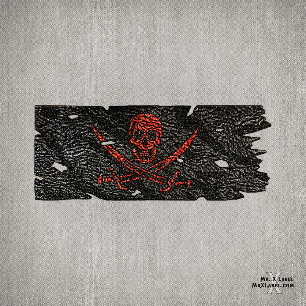 Pirate Flag (Metallic Red) Embroidered Patch