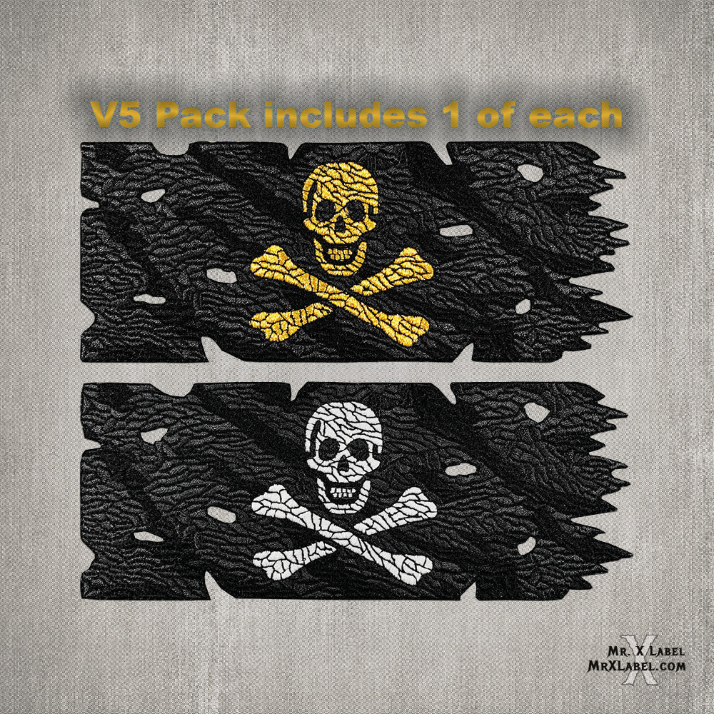 Black Sam Pirate Flag (Gold and Glow Pack) Embroidered Patches