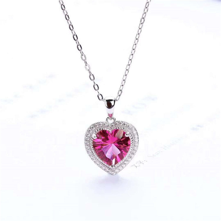 Genuine Natural Pink Topaz Heart Cut Pendant With 18K Gold Plated 925 Sterling Silver Chain (N2)