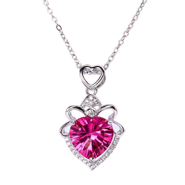 Genuine Natural Pink Topaz Heart Cut Pendant With 18K Gold Plated 925 Sterling Silver Chain (N1)