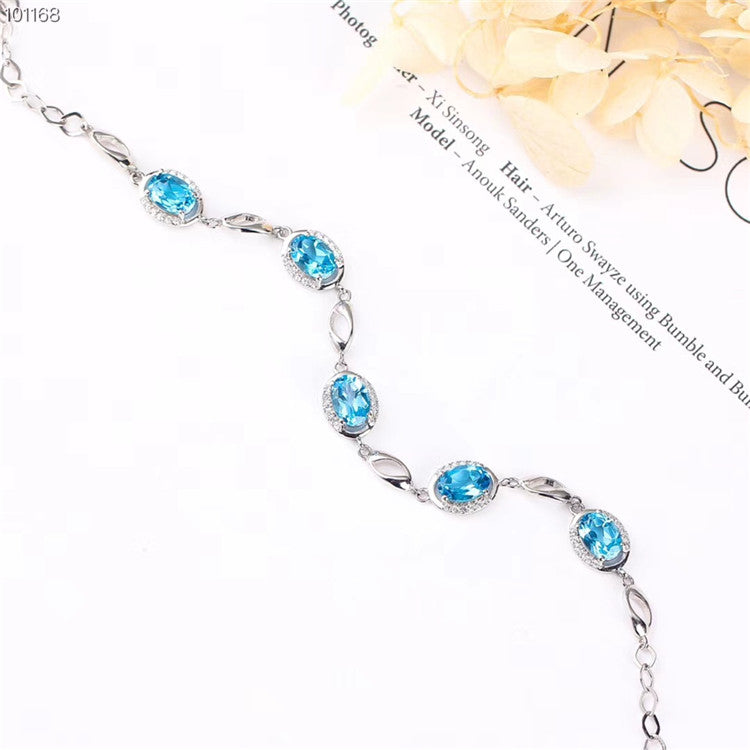 18K Gold Plated 925 Sterling Silver Adjustable Natural Blue Topaz Gemstone Bracelet (B2)