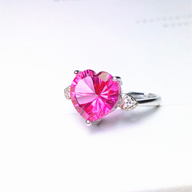Adjustable 3ct Natural Pink Topaz Gemstone Heart Cut 18K Gold Plated 925 Sterling Silver Ring (R1)