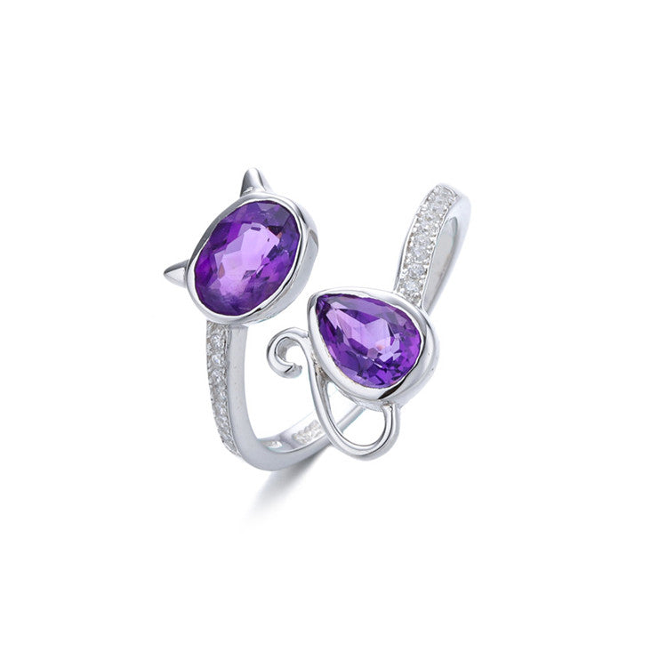 18k Gold Plated 925 Sterling Silver Natural Purple Amethyst Adjustable Cat Ring (R2)