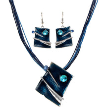 Artistic Square Drop Earrings &  Pendant Necklace with Leather Chain