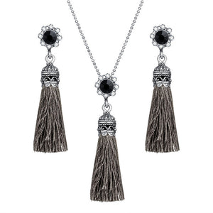 Vintage Chandelier Dangle Pendant & Tassel Necklace with Earrings
