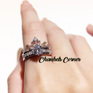 2 in 1 KOREAN ZIRCONIA Tiara Ring |925 Silver ring