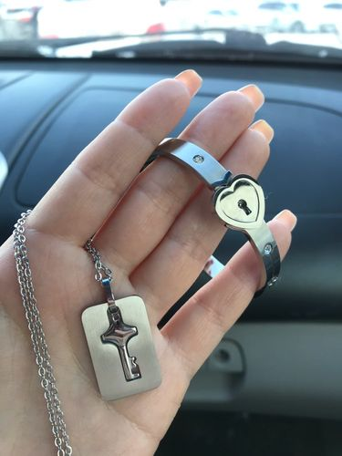 HEART LOCK BRACELET & KEY NECKLACE (Couple) + FREE CARD