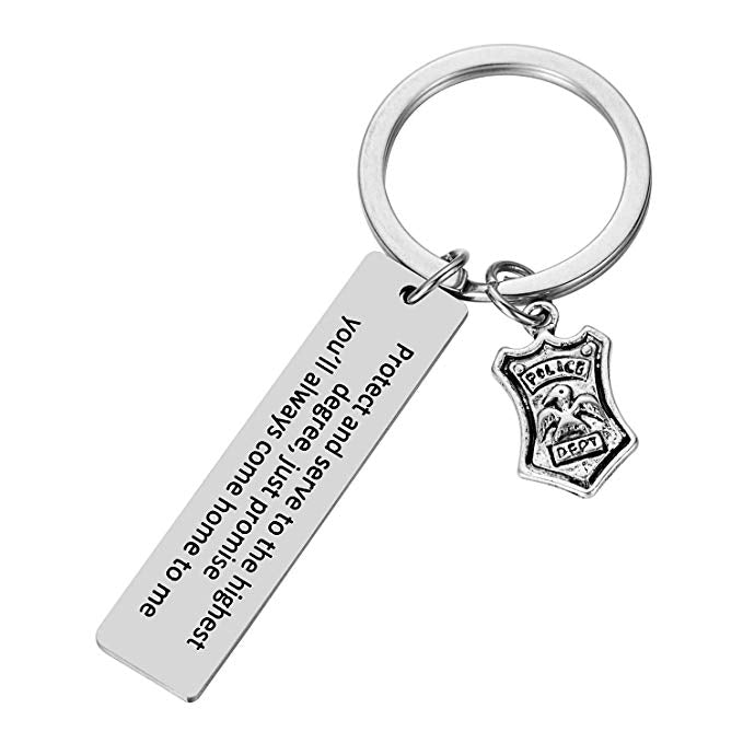 Police Officer Badge Keychain Protect and Serve