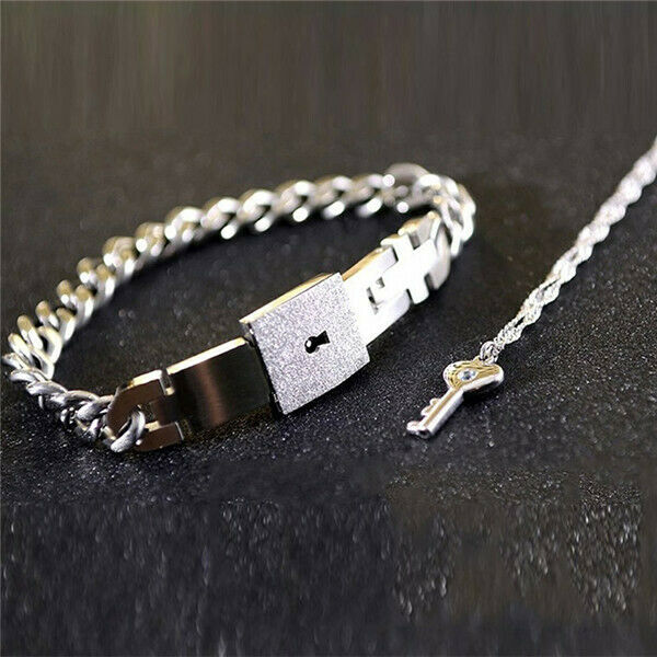 KEY PENDANT NECKLACE AND  LOCK BRACELET (Couple)