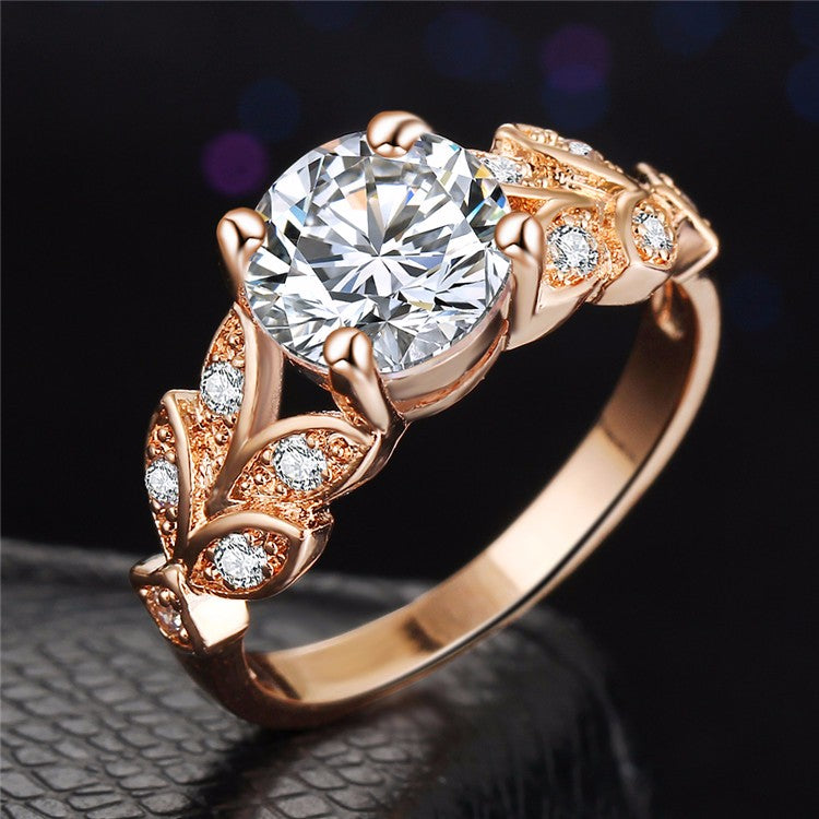 Leaf Shaped Rose Gold Zircon Ring