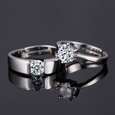 Crystal CZ Stone Couple Ring Love Struck