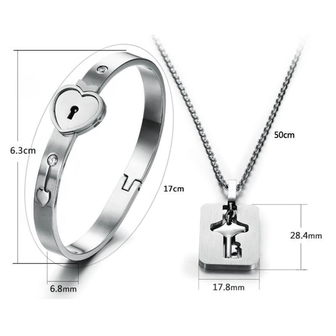 HEART LOCK BRACELET & KEY NECKLACE (Couple)