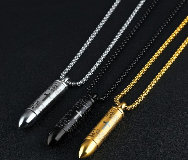 The Lords Prayer Vintage Bullet Necklace