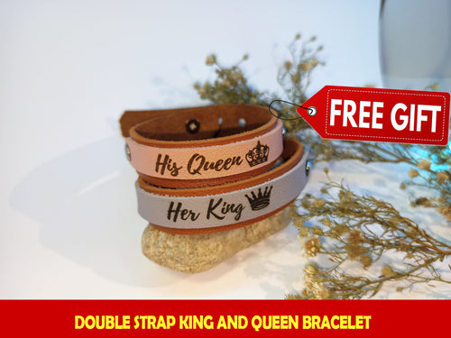 Double Strap KING AND QUEEN Couple Bracelet