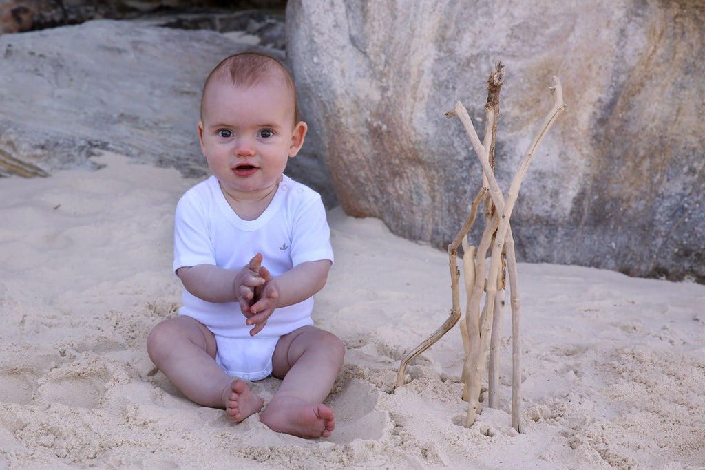 Essential White Short Sleeve Bodysuit - Little Cotton Cloud