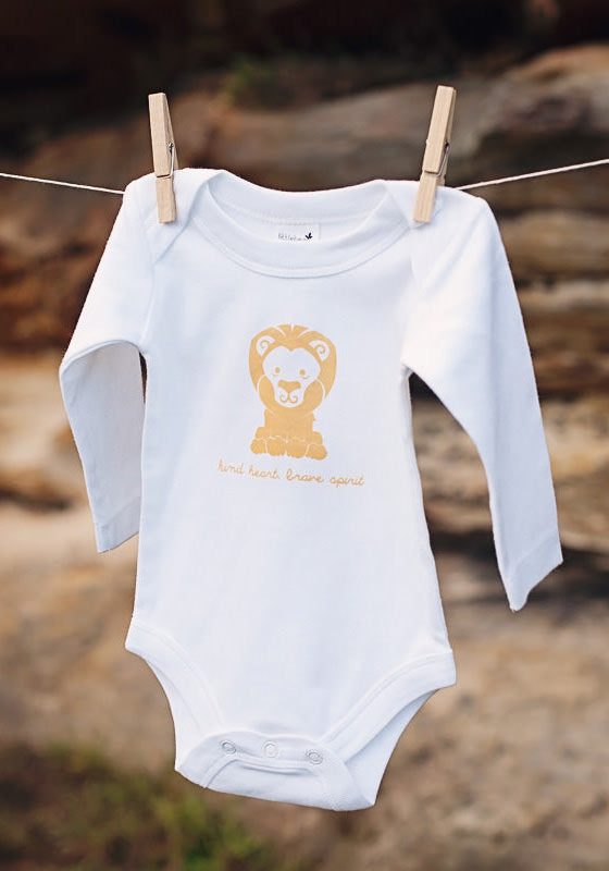Happy Animal Lion Long Sleeve Bodysuit - Little Cotton Cloud