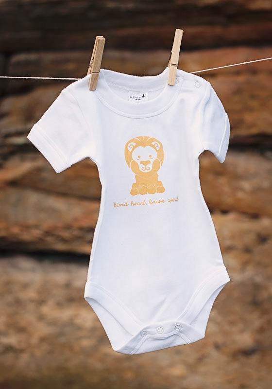 Happy Animal Lion Short Sleeve Bodysuit - Little Cotton Cloud