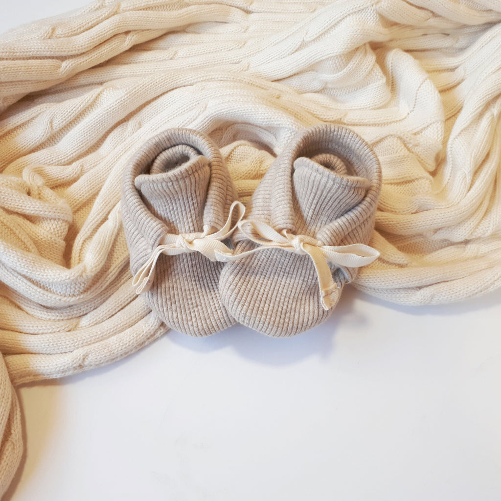 Organic Rib Booties - Oatmeal - Little Cotton Cloud
