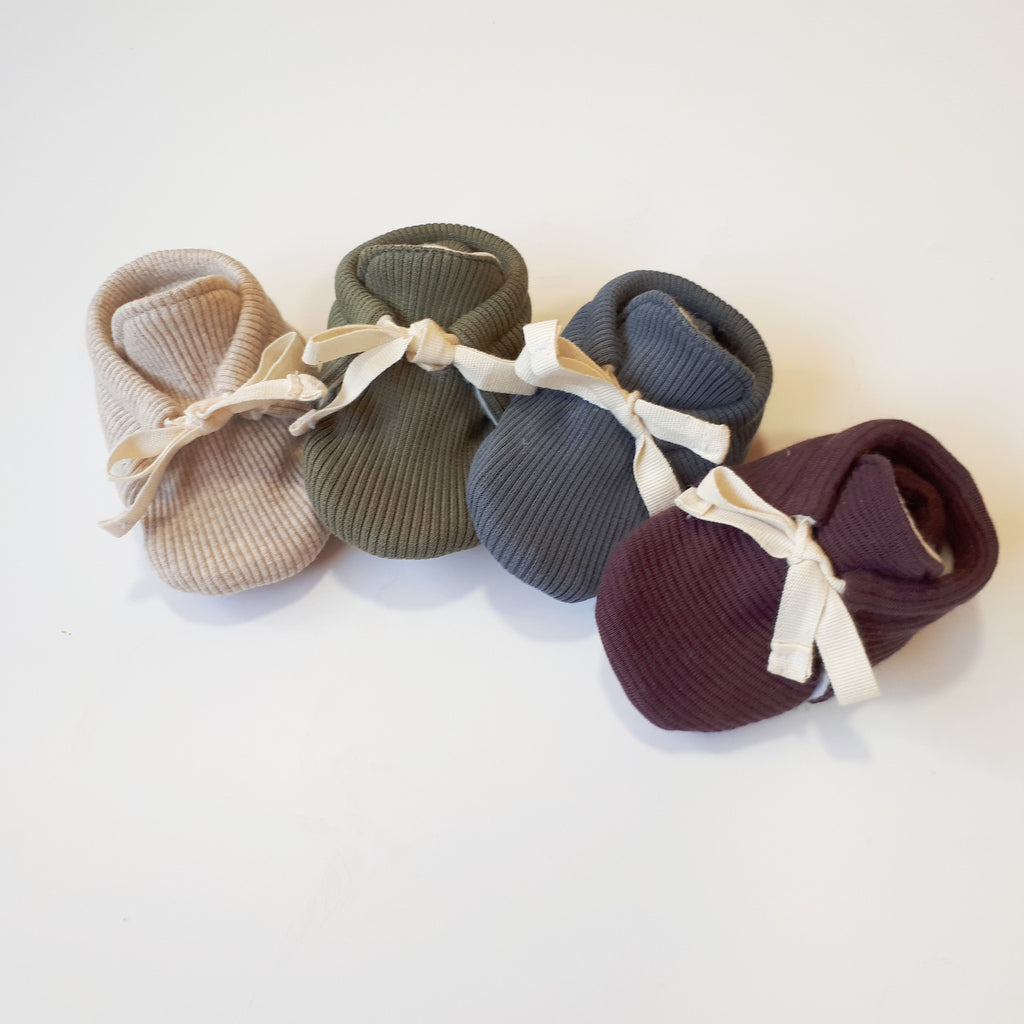 Organic Rib Booties - Olive - Little Cotton Cloud