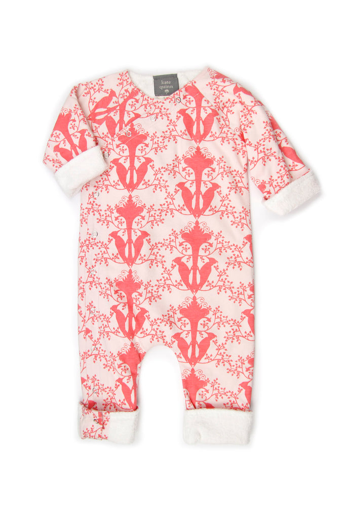 Kimono Jumpsuit Woodland Bird w/ sherpa - Little Cotton Cloud