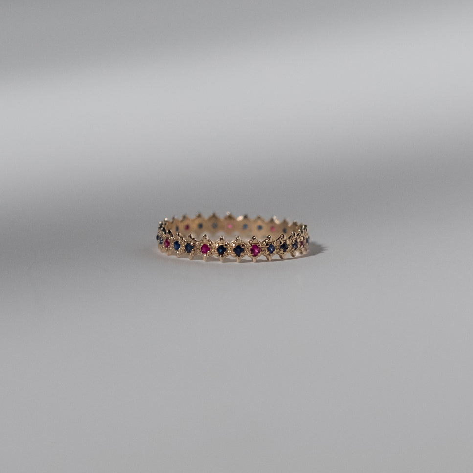 Symm-Beaded Ring with Double Blue Sapphire and Ruby