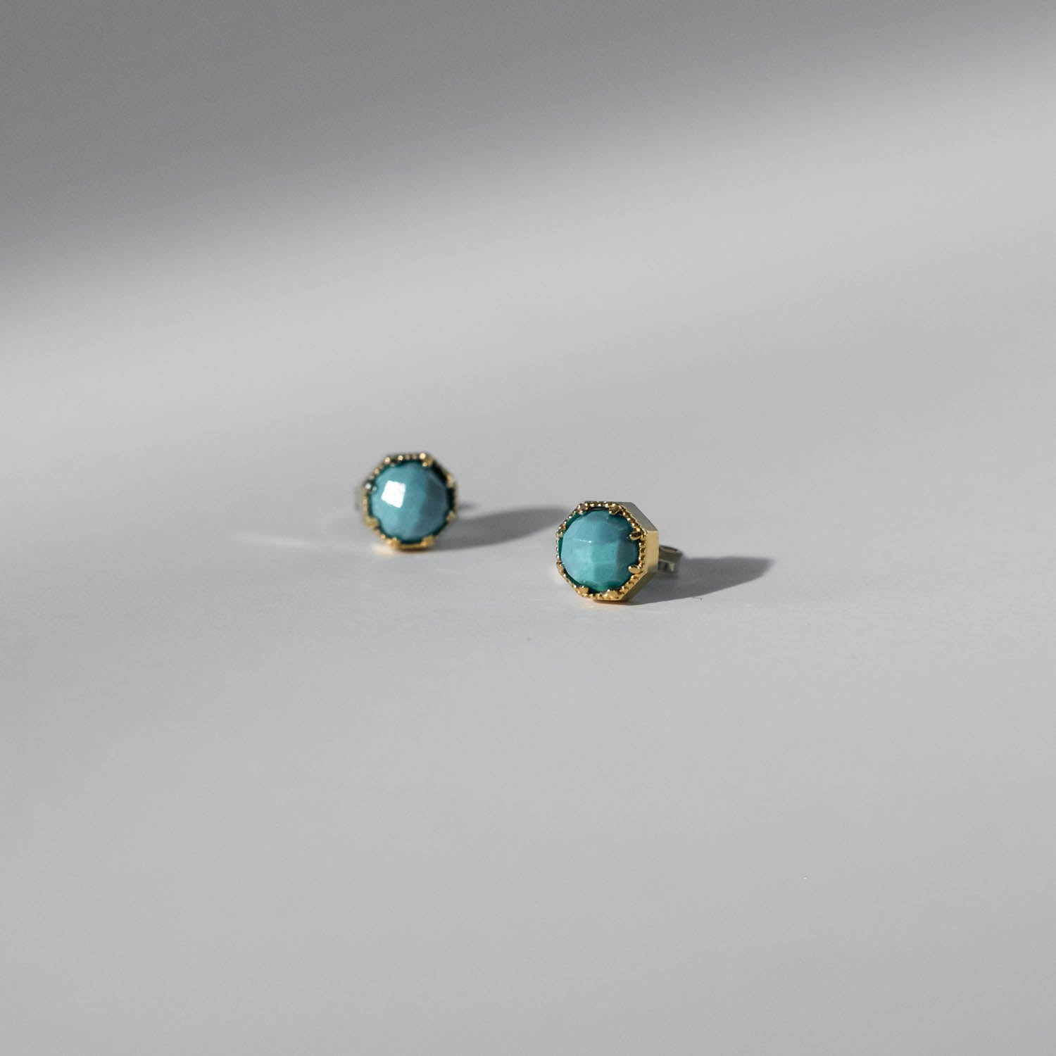 Crown Bezel Turquoise Earrings