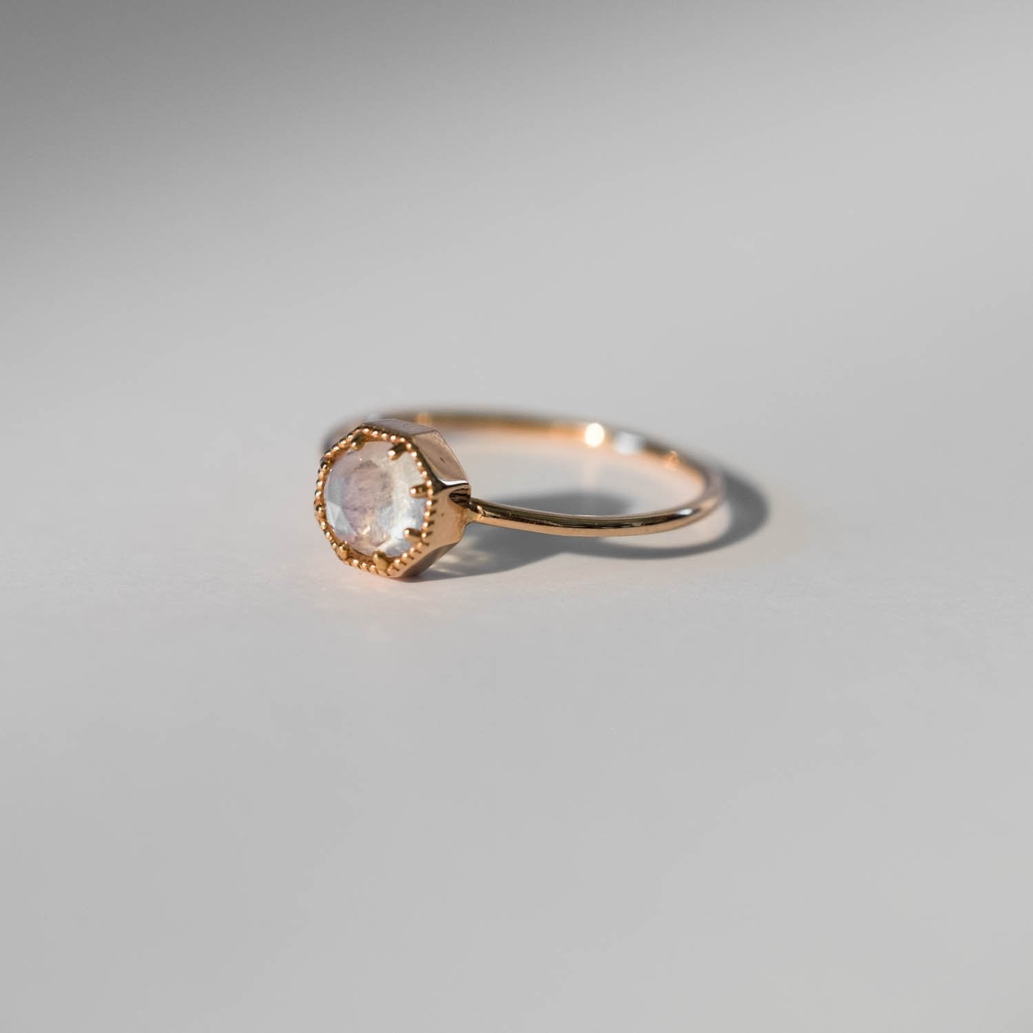 Crown Bezel Moonstone Ring