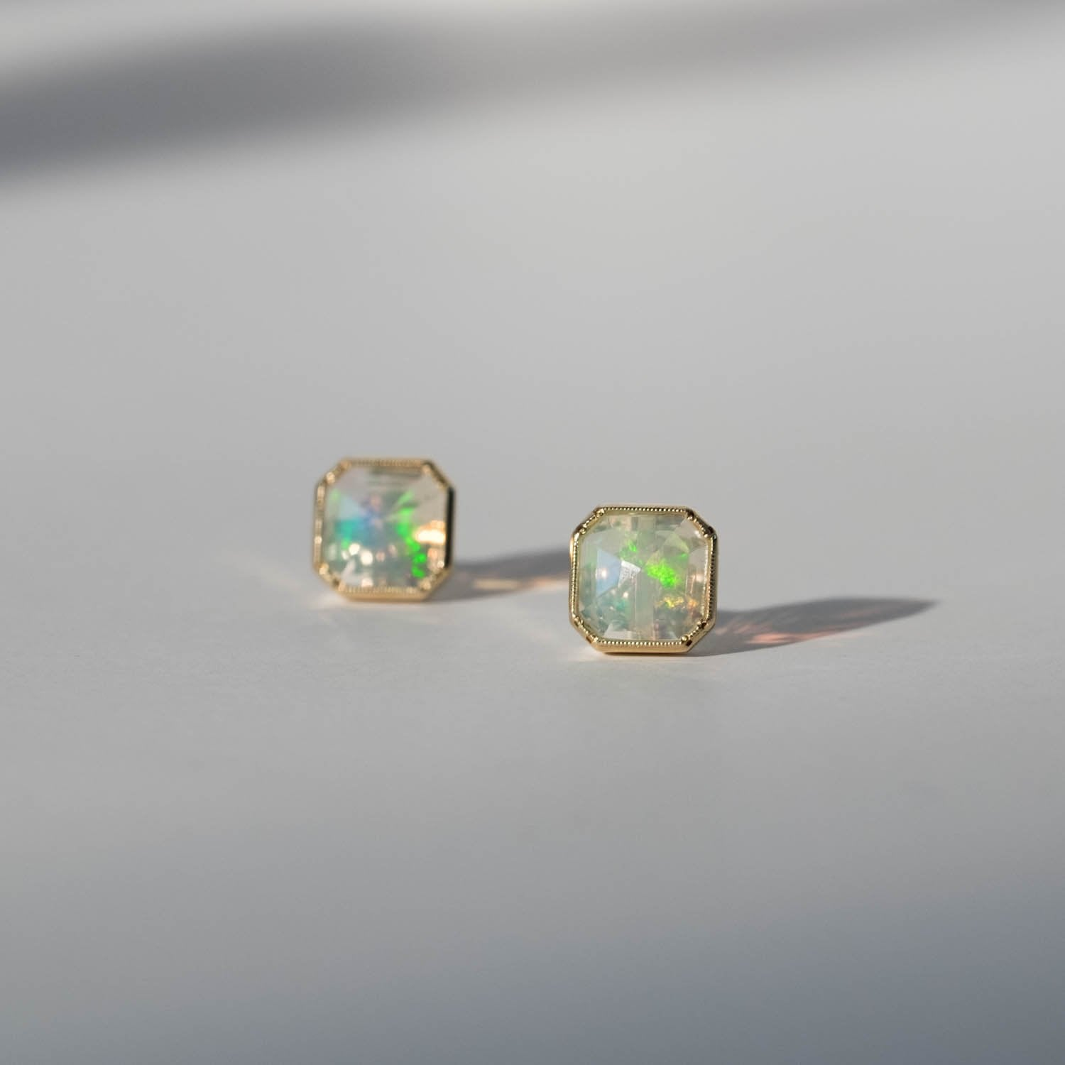 Maman Square Bezel Opal Earrings