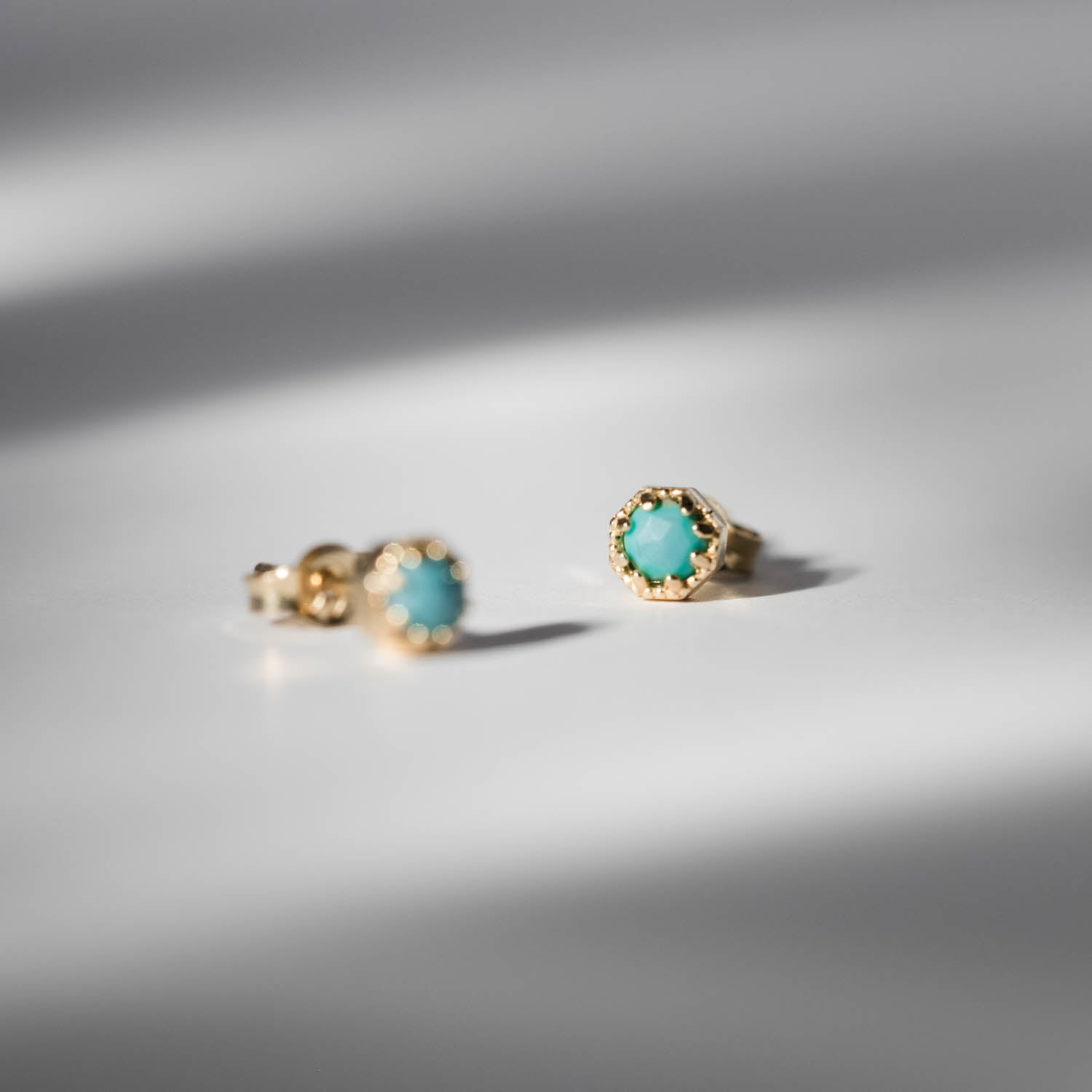Petite Crown Bezel Turquoise Earrings