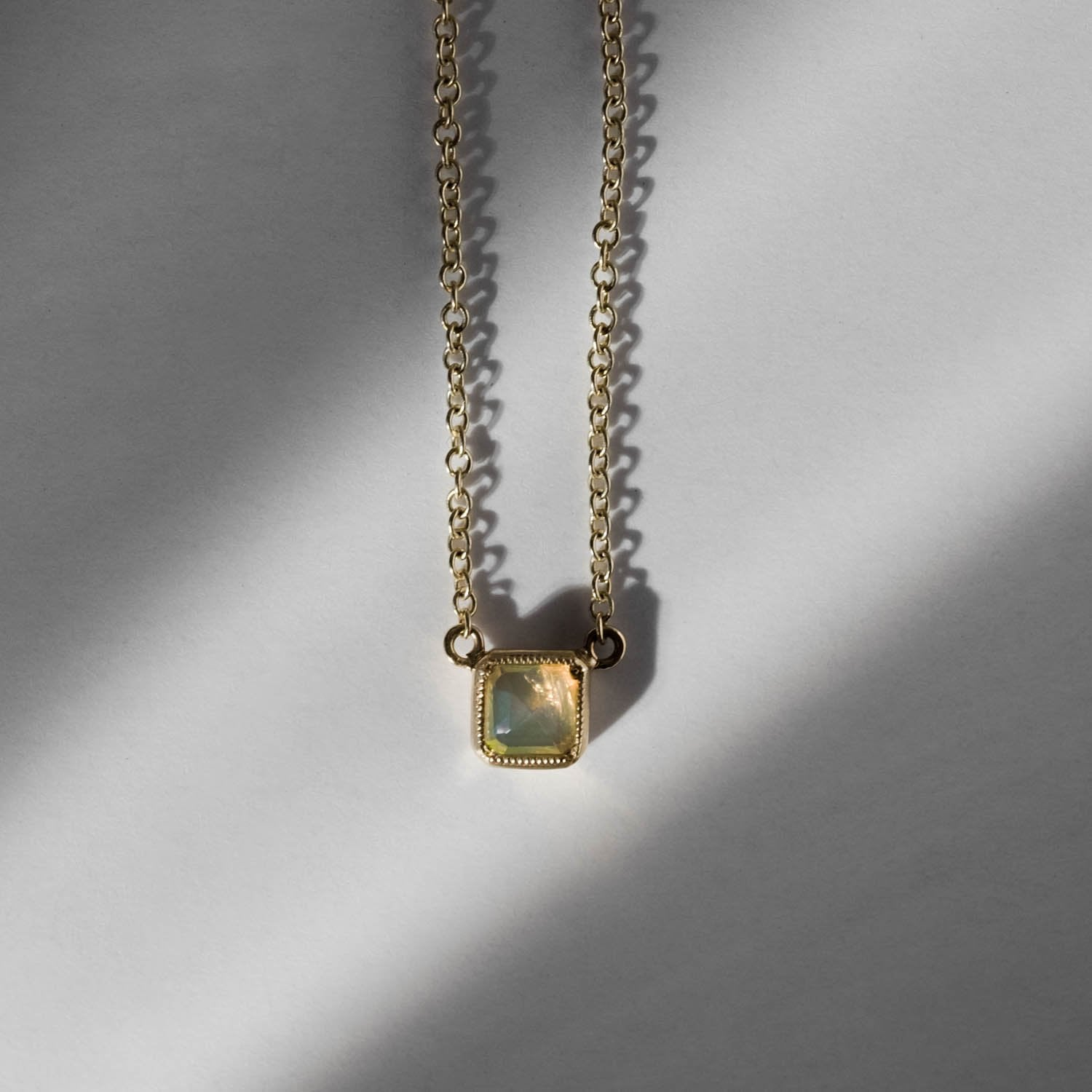 Petite Square Bezel Opal Necklace