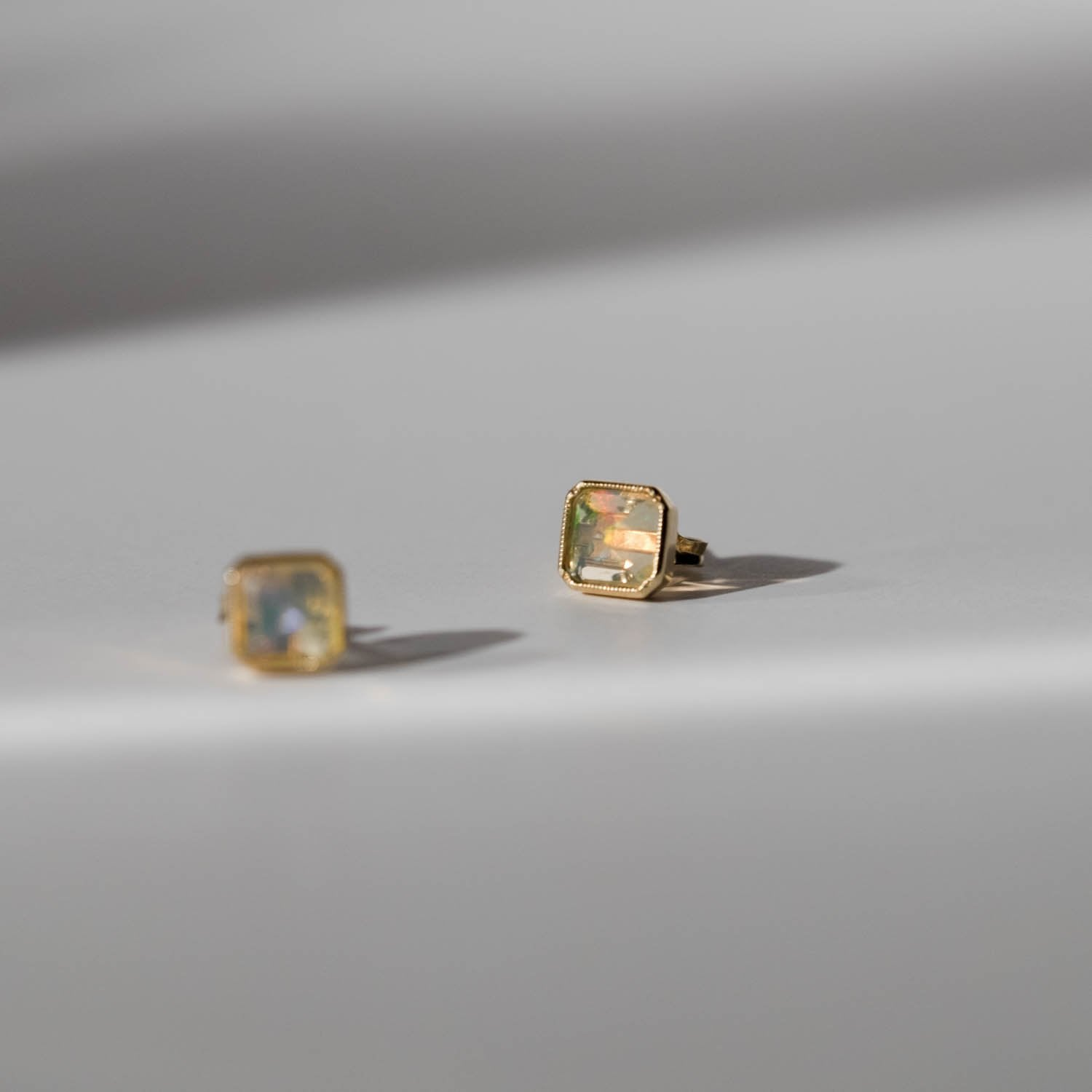 Square Bezel Opal Earrings