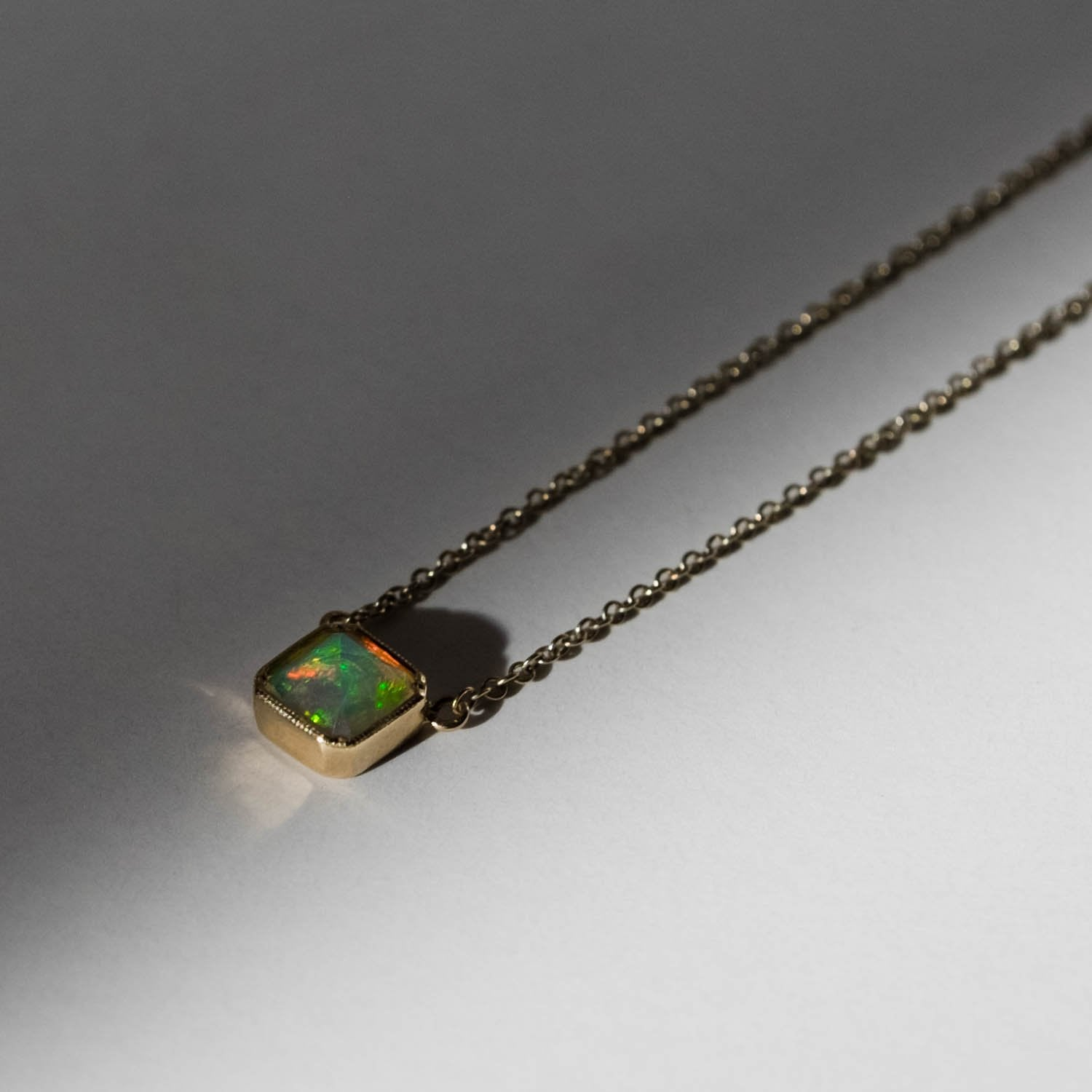 Square Bezel Opal Necklace