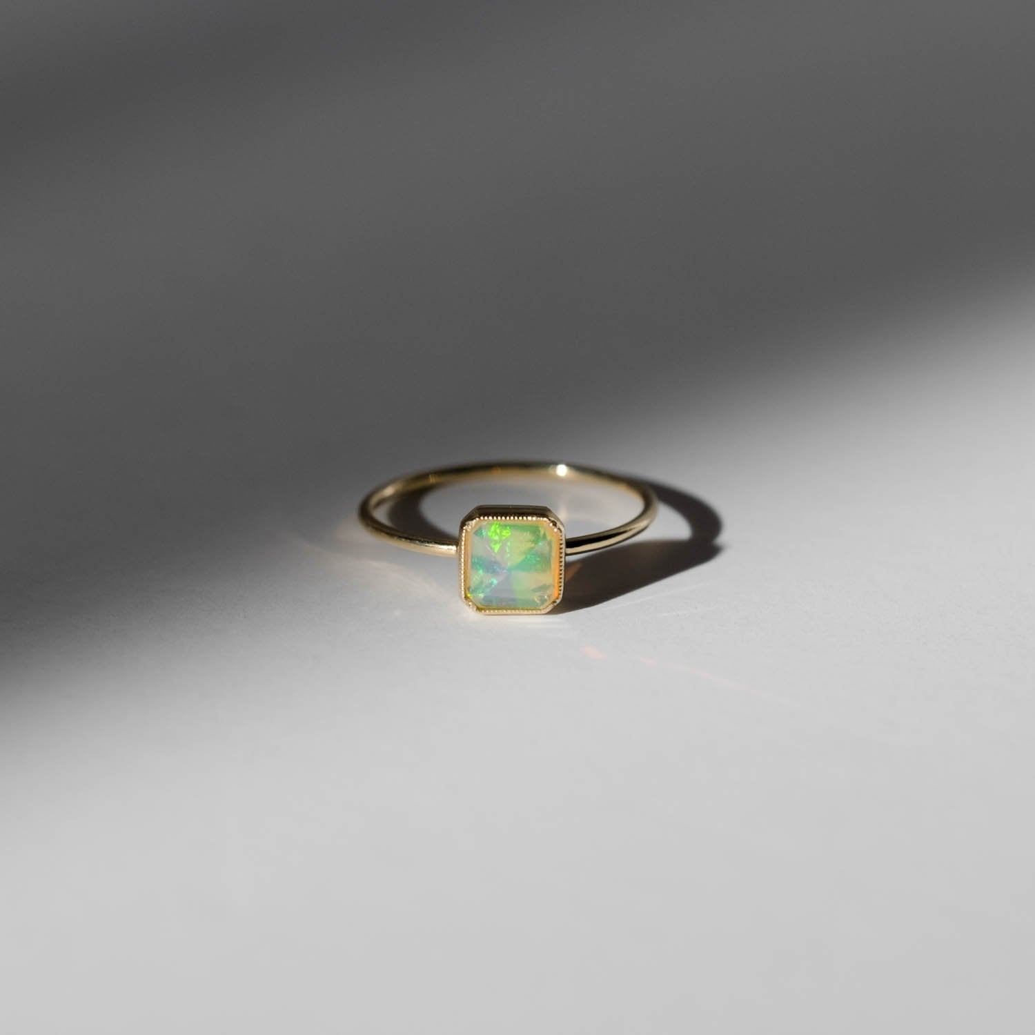 Square Bezel Opal Ring
